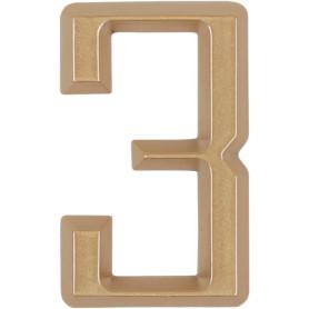 Цифра «3» Larvij самоклеящаяся 60х37 мм пластик цвет матовое золото