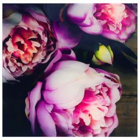 Картина на стекле 30х30 см «Цветы пионы»