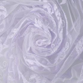 Тюль с вышивкой «Завиток» 1 п/м 280 см органза цвет белый