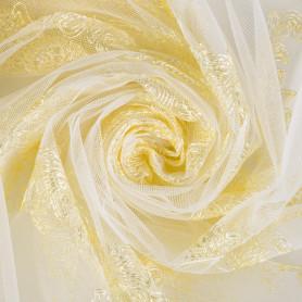 Тюль с вышивкой на сетке «Нежность 1 п/м 280 см цвет золотой