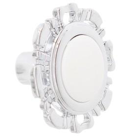 Ручка-кнопка FB-033 000 цвет хром глянцевый/белый