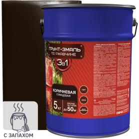 Эмаль-грунт по ржавчине 3в1 цвет коричневый 5 кг