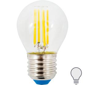 Лампа светодиодная Uniel E27 220 В 6 Вт шар 500 лм, холодный свет