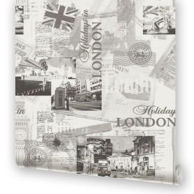 Обои бумажные Московская Обойная Фабрика Лондон серые 0.53 м 271242-3