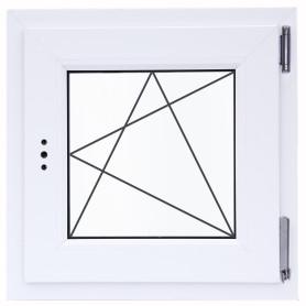 Окно ПВХ одностворчатое 60х60 см поворотно-откидное правое двухкамерное