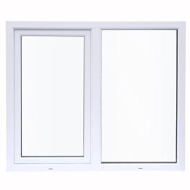 Окно ПВХ двустворчатое 120х120 см глухое/поворотно-откидное правое двухкамерное