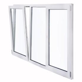 Окно ПВХ трёхстворчатое, 144х175 см, поворотное левое/глухое/поротно-откидное правое двухкамерное