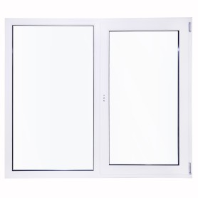 Окно ПВХ двустворчатое 144х145 см глухое/поворотно-откидное правое двухкамерное