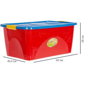 Ящик для игрушек на колесах 600x400x280 см, 44 л цвет красно-синий