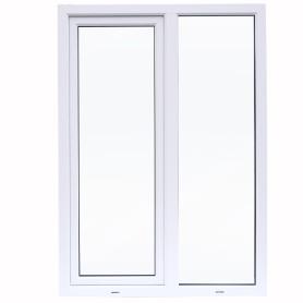 Окно ПВХ двустворчатое 144х116 см глухое/поворотно-откидное правое двухкамерное