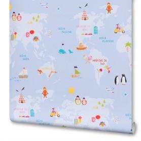 Обои бумажные Rasch Kids World синие 0.53 м 203431