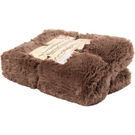 Плед декоративный 200х220 см, искусственный мех, цвет коричневый