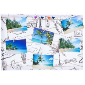 Картина на холсте под фотосет Отпуск с прищепками 40х60 см, цвет чёрно-белый
