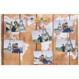 Картина на холсте под фотосет Карта с прищепками 40х60 см