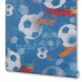 Обои бумажные на флизелиновой основе Московская обойная фабрика Футбол синие 0.53 м 272102-1