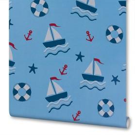 Обои бумажные Willberry Детство голубые 0.53 м 1286