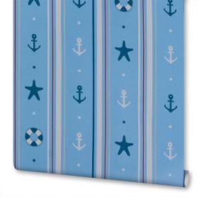 Обои бумажные для детской Полоски 0.53х10 м цвет голубой Вимала 1296
