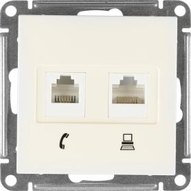 Телефонная/компьютерная розетка встраиваемая Schneider Electric W59 RJ11, цвет слоновая кость