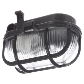 Светильник овальный с решеткой 1хЕ27х60 Вт, IP44, цвет чёрный