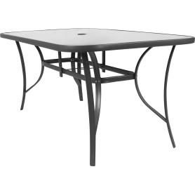 Стол стальной 160x90x70 см, стеклянная столешница