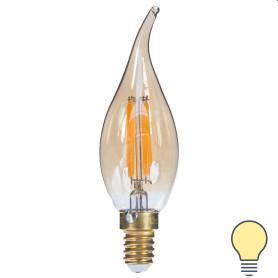 Лампа светодиодная Uniel «Vintage», свеча на ветру, E14, 5 Вт, 420 Лм, цвет золотистый