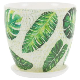 Горшок цветочный «Джунгли» D12, 0, 8л., керамика, Бежевый, Зеленый
