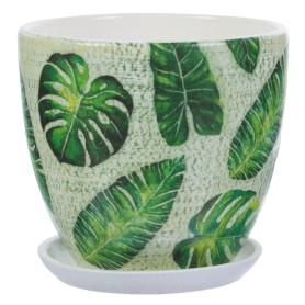 Горшок цветочный «Джунгли» D15, 1, 5л., керамика, Бежевый, Зеленый