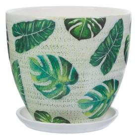Горшок цветочный «Джунгли» D18, 2, 6л., керамика, Бежевый, Зеленый