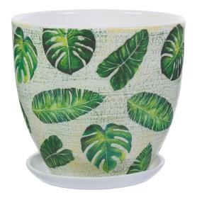 Горшок цветочный «Джунгли» D22, 4, 8л., керамика, Бежевый, Зеленый