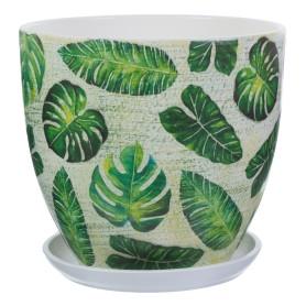 Горшок цветочный «Джунгли» D26, 8, 5л., керамика, Бежевый, Зеленый