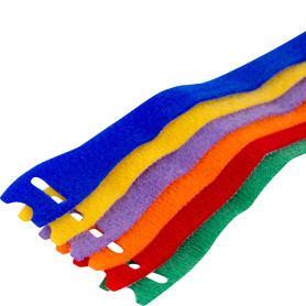 Стяжки-липучки для проводов Scotch, полоски, цветные, 12.7 мм х 20.3 см, 6 шт.