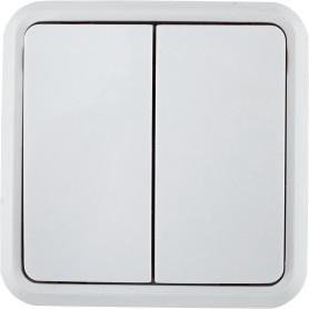 Выключатель накладной Lexman First 2 клавиши, цвет белый