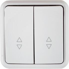 Выключатель проходной накладной Lexman First 2 клавиши, цвет белый