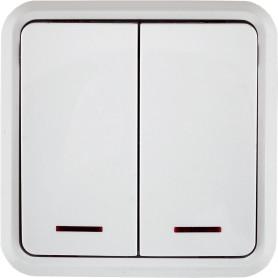 Выключатель накладной Lexman First 2 клавиши с подсветкой, цвет белый