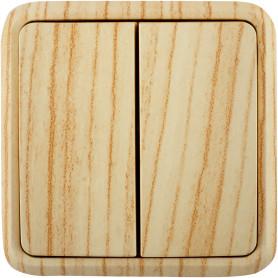 Выключатель накладной Lexman First 2 клавиши, цвет дуб белёный матовый