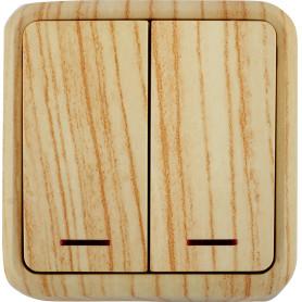 Выключатель накладной Lexman First 2 клавиши с подсветкой, цвет дуб белёный матовый