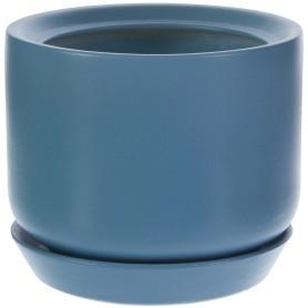 Горшок цветочный «Орфей» D15, 1, 1л., керамика, Зеленый, Синий