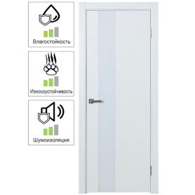 Дверь межкомнатная остеклённая шпон Модерн 90x200 см цвет белый ясень