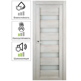 Дверь межкомнатная остеклённая Лайн 80x200 см цвет дуб бриг