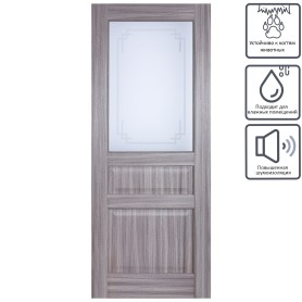 Дверь межкомнатная остеклённая Artens Мария 60x200 см цвет серый дуб