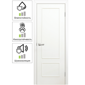Дверь межкомнатная глухая ламинированная Классика 80x200 см цвет белый