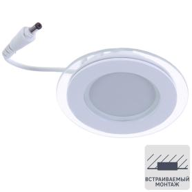 Светильник встраиваемый светодиодный круглый Gauss 6 Вт, стекло, свет нейтральный
