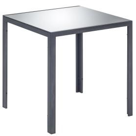 Стол садовый 70x70 см, сталь/стекло, цвет серебристый