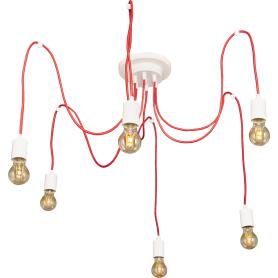 Подвесной светильник Inspire Паук V4238-4/6PL 6хЕ27х60 Вт цвет белый/красный
