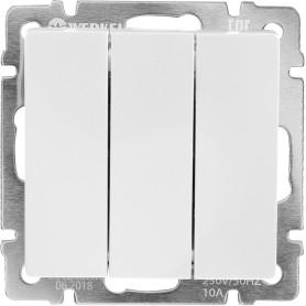 Выключатель встраиваемый Werkel 3 клавиши, цвет серебряный