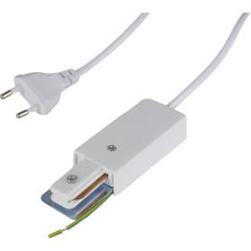 Коннектор для подключения трекового шинопровода к сети в розетку, цвет белый