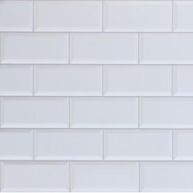 Панель ПВХ листовая 0.3 мм 966х484 мм Плитка белая 0.47 м²