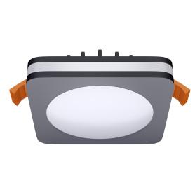 Светильник точечный встраиваемый квадратный Albina 80 мм, 3.3 м², тёплый белый свет, цвет чёрный