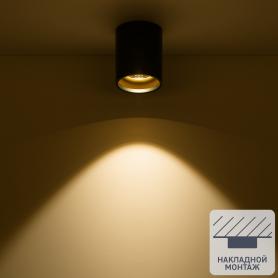 Светильник накладной светодиодный Gauss 12 Вт 3000 K 100 мм цвет чёрный/золотой