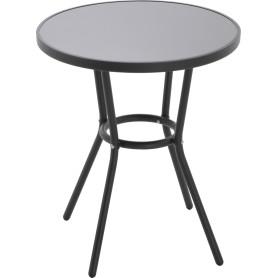 Стол садовый круглый 59.5x59.5x70 см металл/стекло чёрный